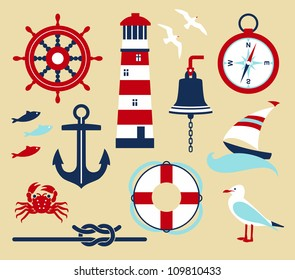 Nautical elements in cartoon style