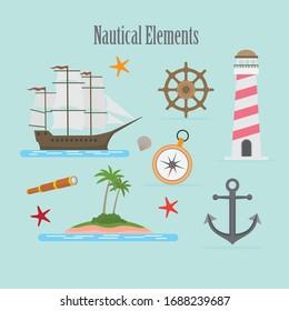 Nautical elements in cartoon style