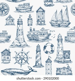 Nautical elements seamless pattern. Sea background. Vector illustration
