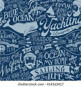 Nautical elements vector seamless pattern grunge effect in separate layers