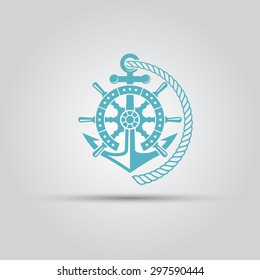 Nautical emblem, helm wheel, anchor and rope isolated vector logo for maritime company