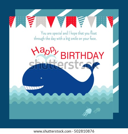 Nautical Happy Birthday Card Design Whale Stock Vector Royalty Free