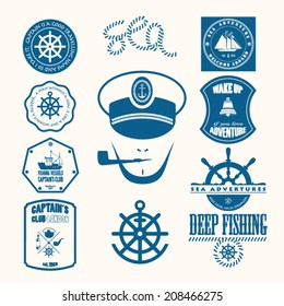 Nautical helm design elements stock vector