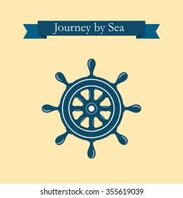 Nautical helm wheel. Helm logo. Boat wheel control rudder vector icon. Rudder ships, sea wheel, round, control, yacht, cruise. Helm wheel isolated. Vector label template.