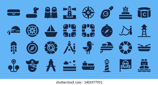 nautical icon set. 32 filled nautical icons. on blue background style Simple modern icons about  - Float, Pirate scarf, Bait, Rubber ring, Wind rose, Compass, Pirate, Fins, Sailboat
