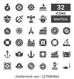 nautical icon set. Collection of 32 filled nautical icons included Fishing, Pirate, Compass, Pirate hat, Lifebuoy, Treasure map, Yatch, Lifesaver, Anchor, Sailboat, Boat, Helm