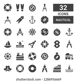 nautical icon set. Collection of 32 filled nautical icons included Buoy, Boat, Compass, Float, Lifesaver, Pirate hat, Helm, Floats, Lifebuoy, Sea, Anchor, Fins