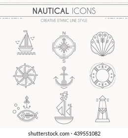 Nautical icon set. Collection of creative line style design elements. Minimalistic outlined seafaring icons. Monochrome