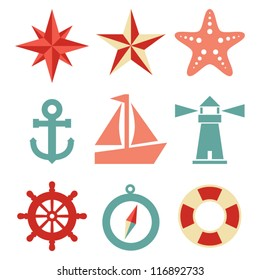 Nautical Icons - A set of 9 nautical-themed icons.  Each icon is a separate group.