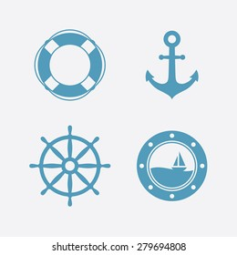 Nautical icons set. Lifebuoy, anchor, steering wheel, porthole. Vector illustration