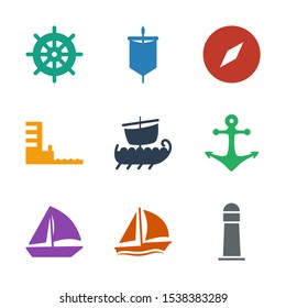 nautical icons. Trendy 9 nautical icons. Contain icons such as lighthouse, sailboat, anchor, water military, harbor, compass, sail, helm. nautical icon for web and mobile.