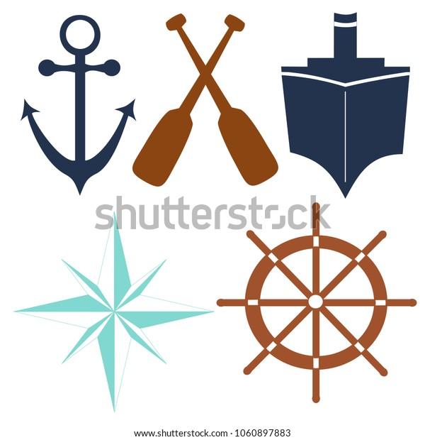 Nautical Illustration Vector Designs, Anchor, Ship, Oars, Helm, Compass Rose Vector Elements
