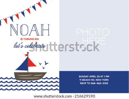 nautical inspired birthday card template boat stock vector royalty