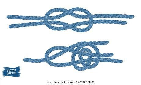 Nautical knots. Rope sketches. Braid. Rope knots. Braided trim. Marine. Sail. Ship. Boat. Sailor. Sea. Ocean. Fishing. Fisherman. Nautical rope. Vintage. Hand made.
