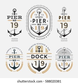 Nautical Label Anchor No 19 set in Gold and Black Colour, Premium Seafood Labe