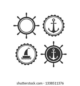 Nautical labels set. helm and anchor isolated on white. Ship and boat steering wheel sign. Rudder label. Nautical maritime illustration. sea and ocean symbol.Vector flat illustration