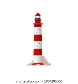 Nautical lighthouse sea navigation beacon isolated navy guidance equipment. Vector marine tower with searchlight lamp, red striped building icon. Retro tower construction with entrance on rocks