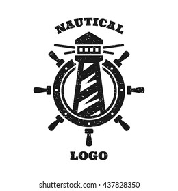 Nautical logo with a lighthouse and a steering wheel.