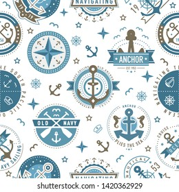 Nautical logo template pattern. Sailing object, icon vector background. Marine label, sea badge, anchor logo design, graphic emblem. Anchor, ship silhouettes. Boat, anchor, lighthouse symbols pattern
