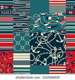 Nautical and marina elements patchwork wallpaper abstract  marine vector seamless pattern