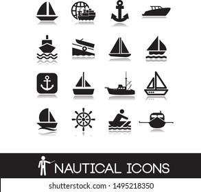 Nautical marine icon set. Vector illustration.