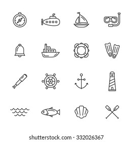 Nautical, marine and sea thin line icons