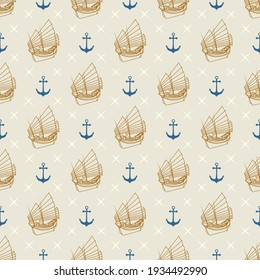 Nautical marine seamless pattern with anchor and sailboat.  Pattern in swatch