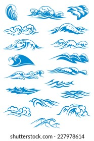 Nautical or marine themed set of blue breaking ocean waves in different design elements, vector illustration on white