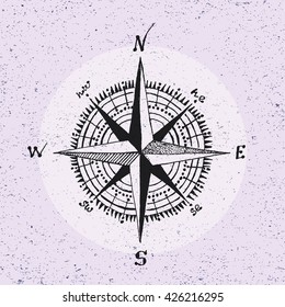 Nautical marine wind rose, compass icon for travel, navigation design. Hand drawn illustration for tattoo, print. Vector sketch in line art style with engraved elements isolated on vintage background.
