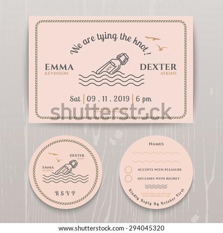 nautical message bottle wedding invitation rsvp stock vector