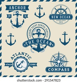 Nautical, Navigational, Seafaring and Marine insignia logotype vintage design with anchor, rope, steering wheel, compass |  Only Free Font Used, Vector illustration