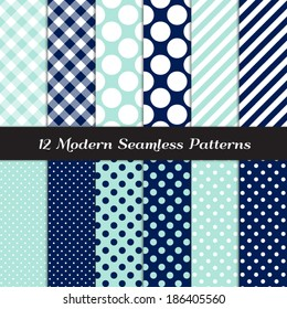 Nautical Navy Blue, Aqua and White Jumbo Polka Dots, Gingham and Stripes Seamless Patterns. Navy Aqua Nautical Backgrounds. Pattern Swatches included and made with Global Colors.