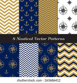 Nautical Navy Blue, Gold and White Chevron, Anchors and Compasses Patterns. Navy Gold Nautical Backgrounds V1. Vector EPS File Pattern Swatches made with Global Colors.