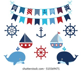 Nautical navy blue and red collection of whales, boats, buntings, anchor, wheels. Marine and ocean theme design elements set for baby showers, birthdays, invitations.