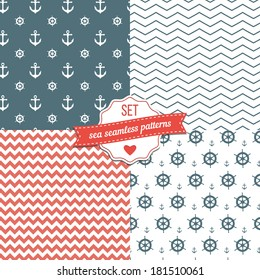 Nautical Navy Blue, Red and White Chevron, Anchors and ship wheels Seamless Patterns.
