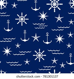 nautical pattern in shades of blue, vector illustration. white objects on a blue background