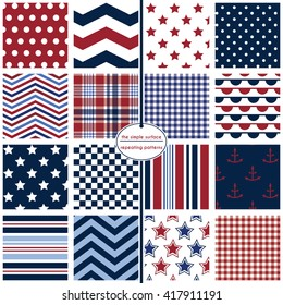 Nautical patterns. Repeating patterns for scrapbook paper, cards, gift wrap, backgrounds and more. Anchor and star prints, polka dots, chevrons, stripes, gingham/plaid. Red, white, blue and navy.