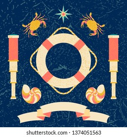 Nautical poster. Cartoon style with grunge effects. Tape for text. Compass, compass rose, lifebuoy, telescope, crab, shell, starfish. Round frame from waves