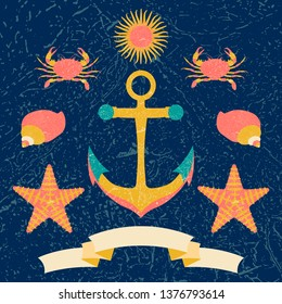 Nautical poster. Cartoon style with grunge effects. Tape for text. Anchor, sun, crab, shell. Round frame from waves
