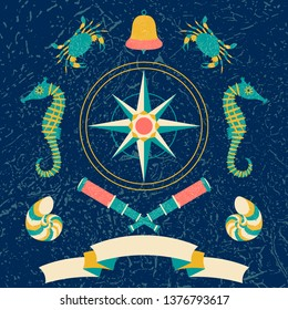 Nautical poster. Cartoon style with grunge effects. Tape for text. Compass rose, Bell, telescope, crab, sea horse. Round frame from waves