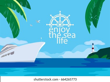 Nautical poster concept. Blue sea scenic view. Cruise ship sailing on blue water. Hand drawn cartoon retro style. Maritime vector Illustration of recreation in cruising tour. Seaside banner background