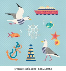 Nautical poster concept. Set of seaside symbols in retro cartoon style. Cute seagull. Fancy letters maritime headline. Marine icons of vintage seashore lifestyle banner background. Vector illustration
