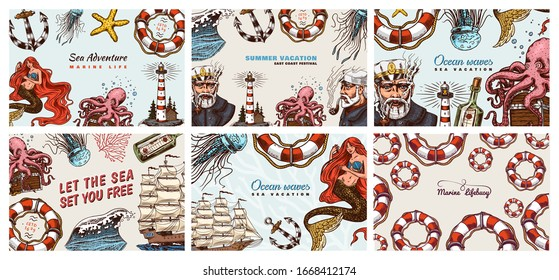 Nautical Posters set. Sea banners or backgrounds. Lighthouse, mermaid and marine captain, octopus and shipping sail, old sailor, ocean waves, seaman and lifebuoy. Hand drawn engraved old sketch.