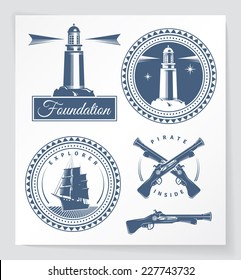 Nautical related vintage badges and design elements. Some elements are logo inspired. EPS10.