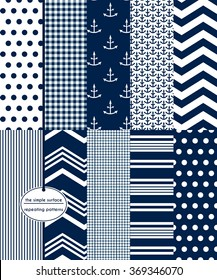Nautical. Repeating patterns for scrapbook paper, cards, gift wrap, backgrounds and more. Includes: anchor prints, polka dots, gingham, stripes, chevron and more. Navy and white patterns. Classic.