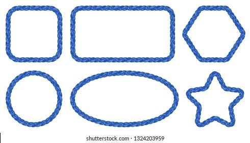 Nautical rope frames set. Braid. Rope sketches. Braid. Marine. Sail. Fishing. Nautical rope. Vintage. Simple framings.