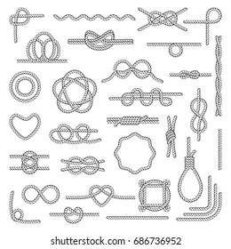 Nautical rope knots. Tie chart use by boaters, paddlers, scouts, search and rescue, arborists, climbers. Nautical rope icon flat style illustration isolated on white background.