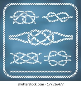 Nautical rope knots. Vector, gradient mesh