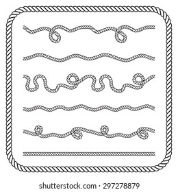Nautical rope knots. Vector silhouettes