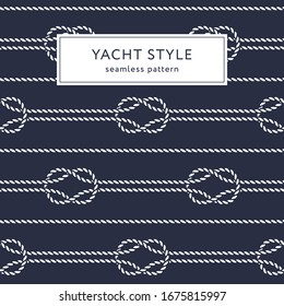 Nautical rope seamless pattern. Yacht style design. Vintage decorative background. Template for prints, wrapping paper, fabrics, covers, flyers, banners, posters and placards. Vector illustration.